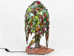 LEADED GLASS �WILLOW TREE� FORM LAMP