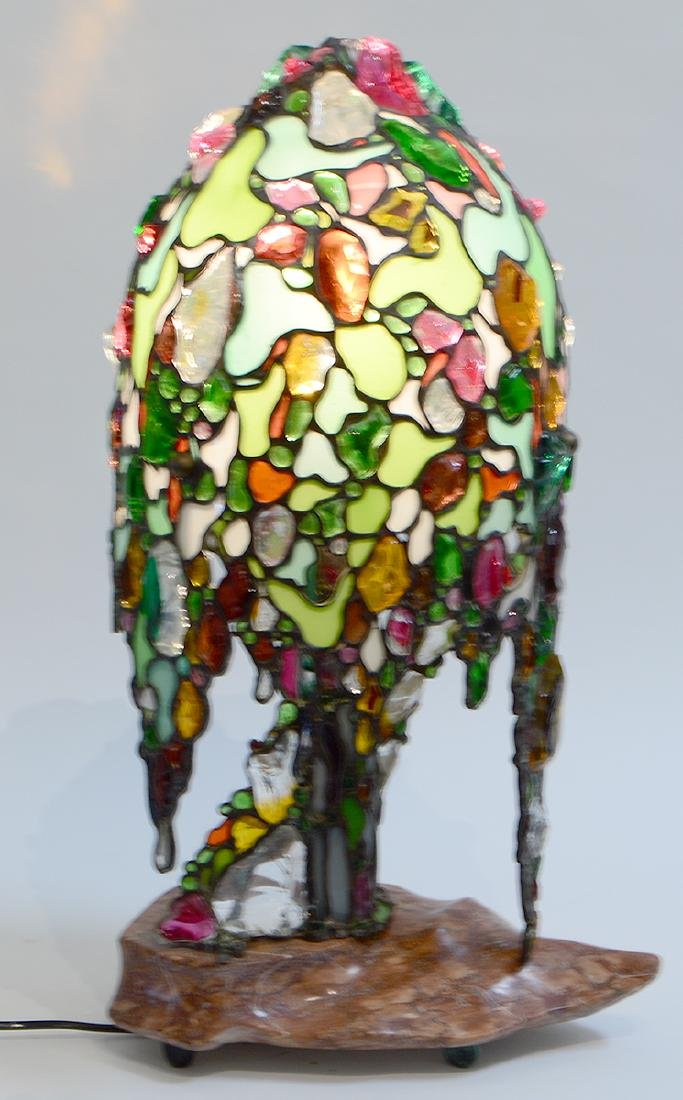 LEADED GLASS 'WILLOW TREE' FORM LAMP - 2