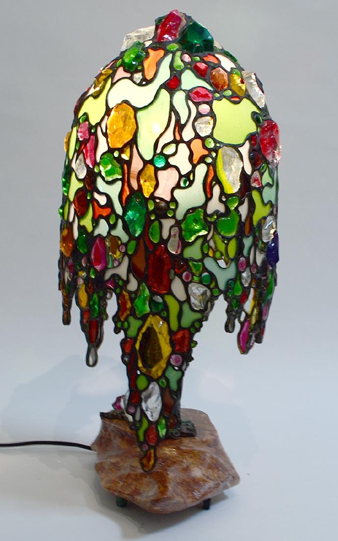 LEADED GLASS 'WILLOW TREE' FORM LAMP - 4