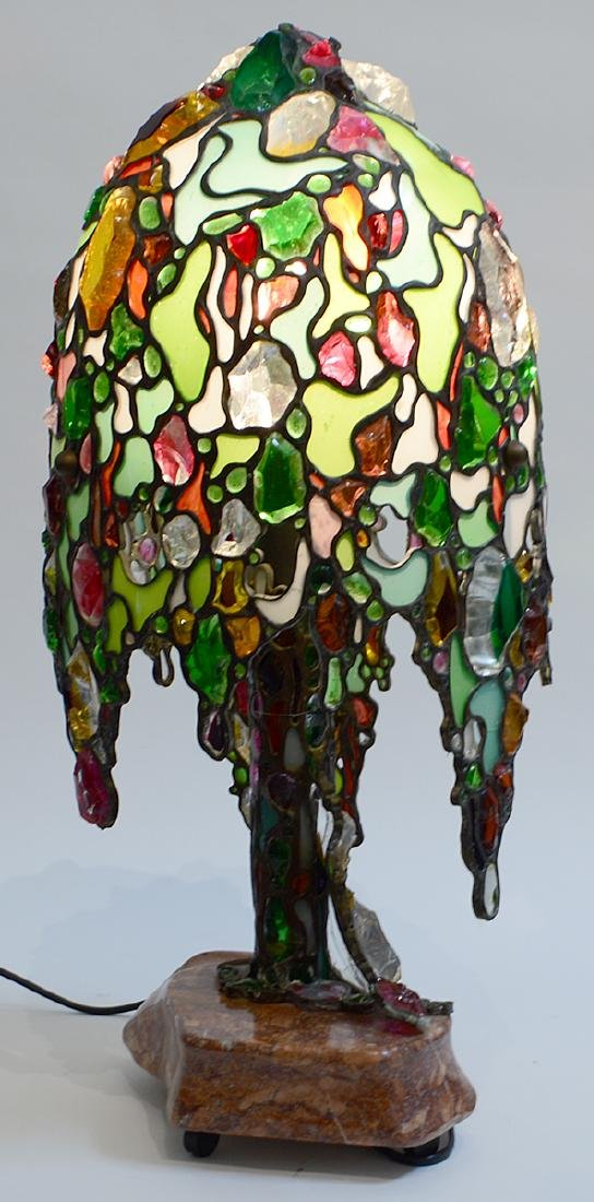 LEADED GLASS 'WILLOW TREE' FORM LAMP - 6