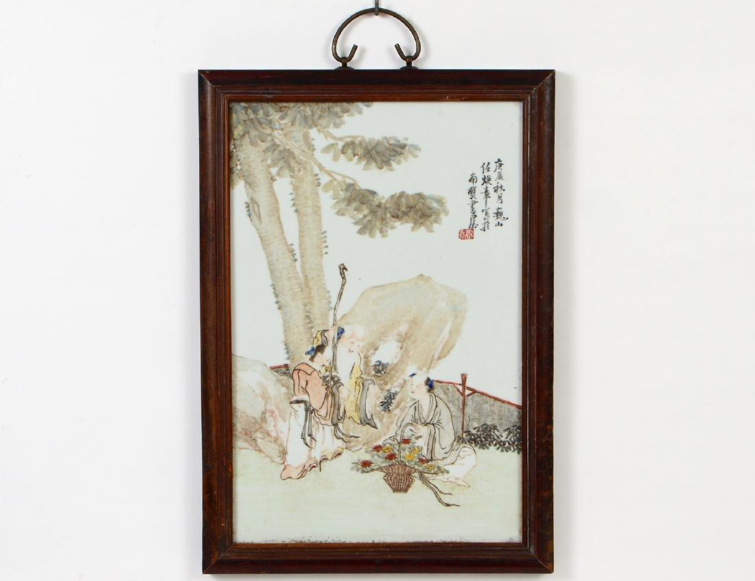 CHINESE ENAMEL DECORATED PORCELAIN PLAQUE