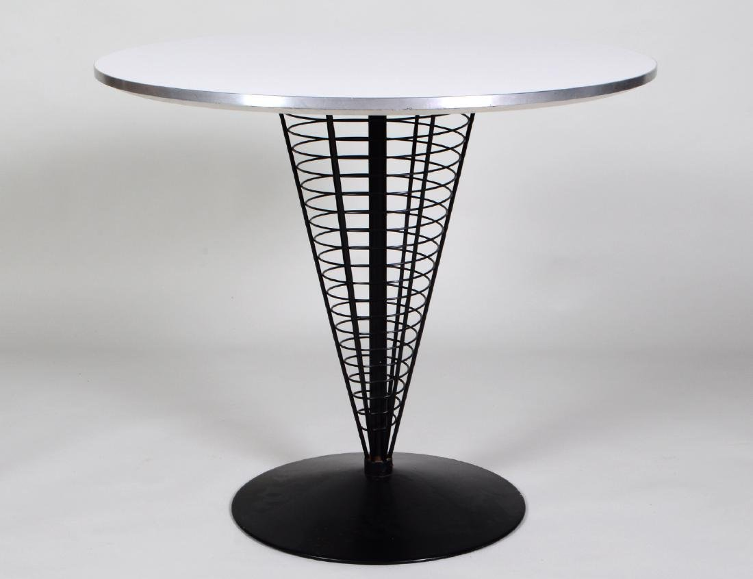 MID-CENTURY FORMICA TOP & EBONIZED METAL CAFE TABLE