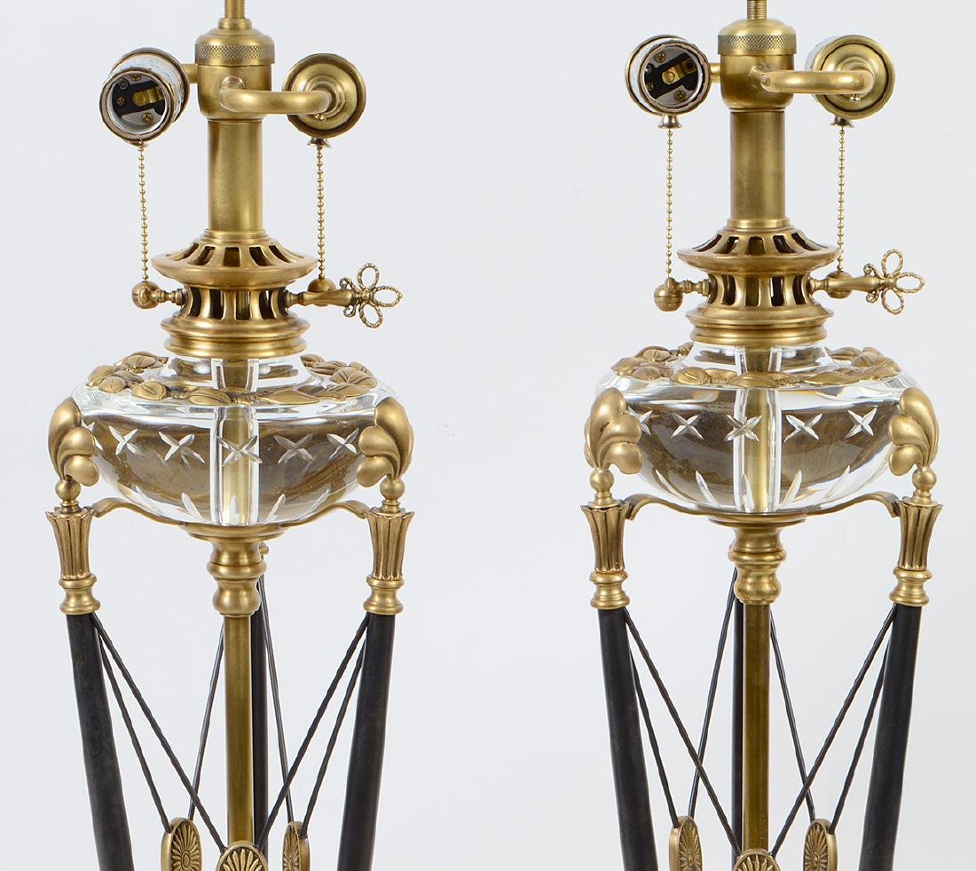 PAIR OF CROFTON VARIOUS METAL AND GLASS TRIPOD LAMPS - 4