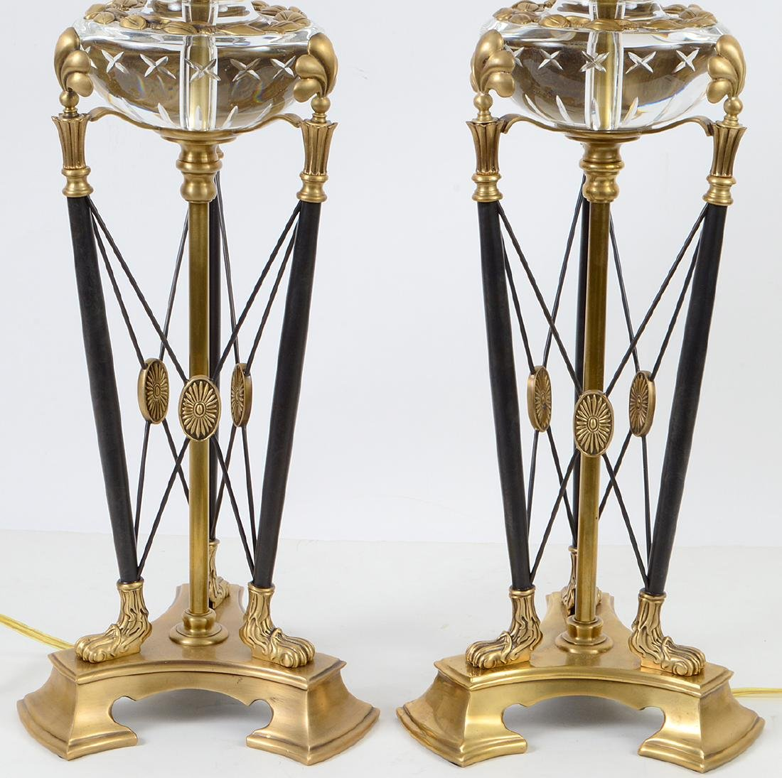 PAIR OF CROFTON VARIOUS METAL AND GLASS TRIPOD LAMPS - 5