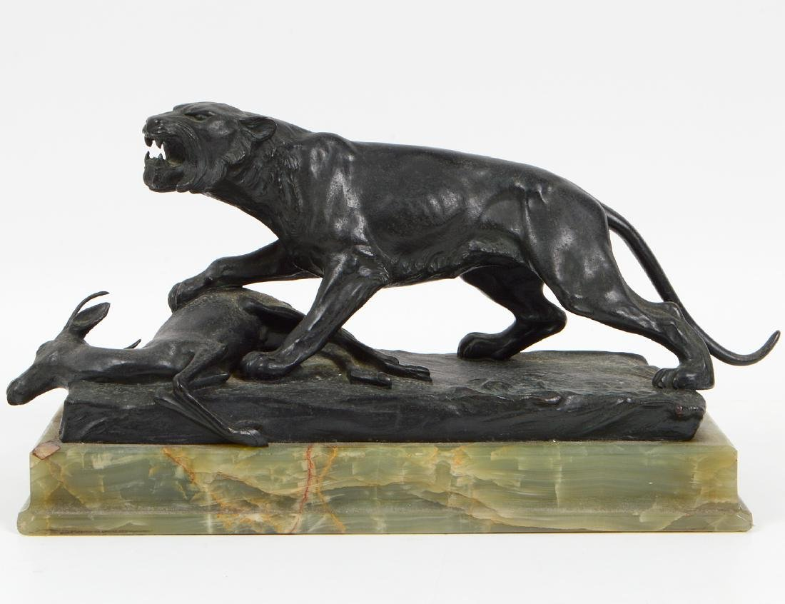 PATINATED BRONZE OF A LIONESS AND A SPRINGBUCK