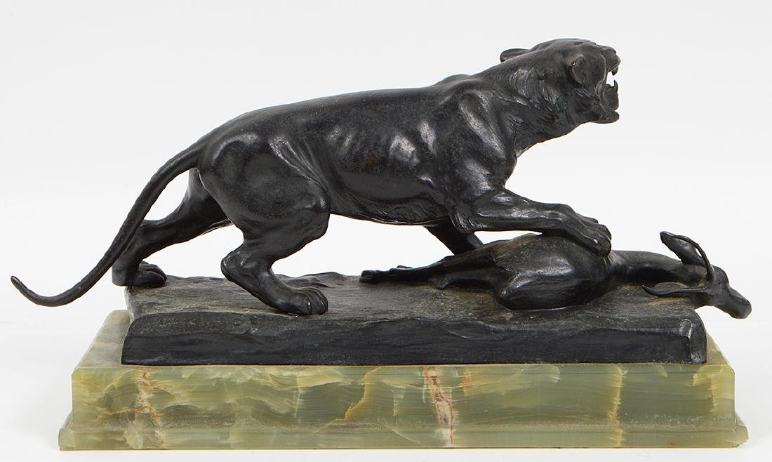 PATINATED BRONZE OF A LIONESS AND A SPRINGBUCK - 2