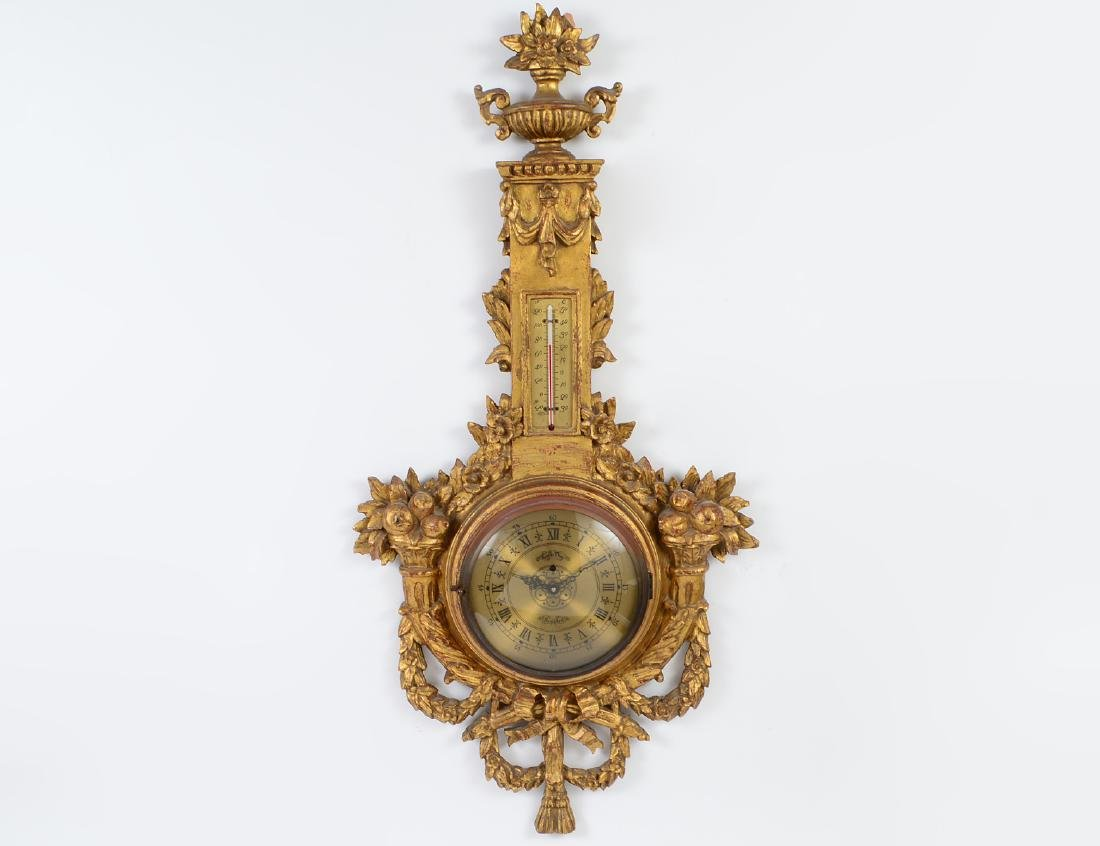 LOUIS XVI STYLE CARVED GILTWOOD WALL CLOCK