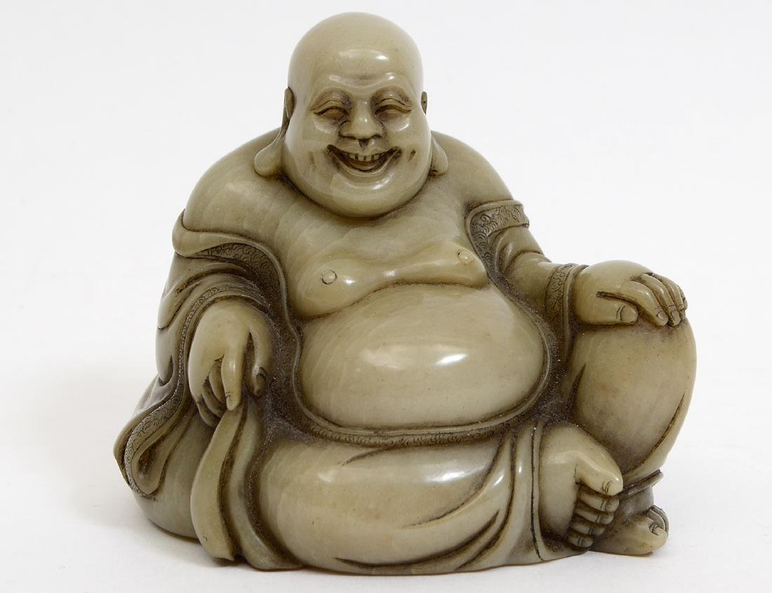 CHINESE CARVED SOAPSTONE SEATED HOTAI