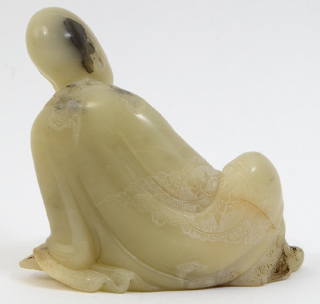 CHINESE CARVED SOAPSTONE SEATED LOHAN - 3