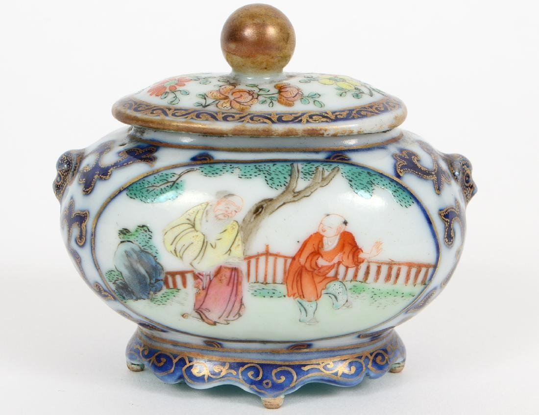 CHINESE FAMILLE ROSE & UNDER  GLAZE BLUE SNUFF JAR