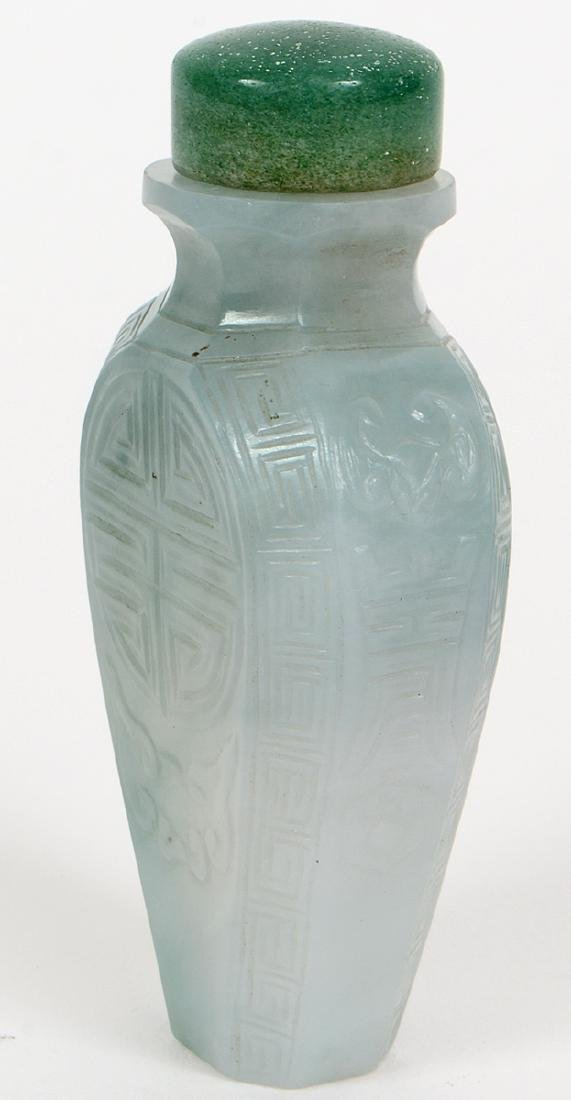CHINESE IMPERIAL INCISED JADEITE SNUFF BOTTLE - 4