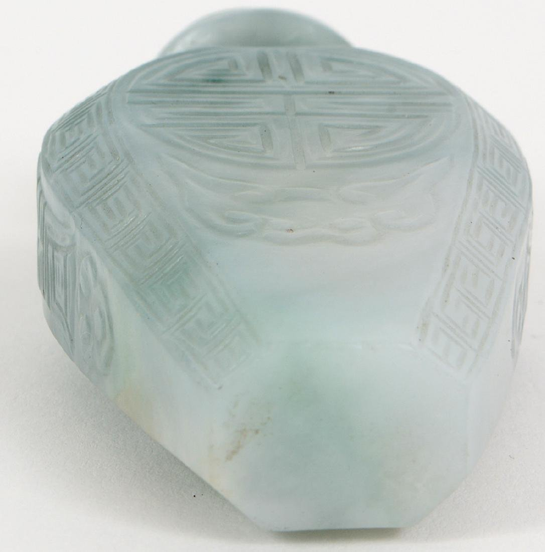 CHINESE IMPERIAL INCISED JADEITE SNUFF BOTTLE - 5