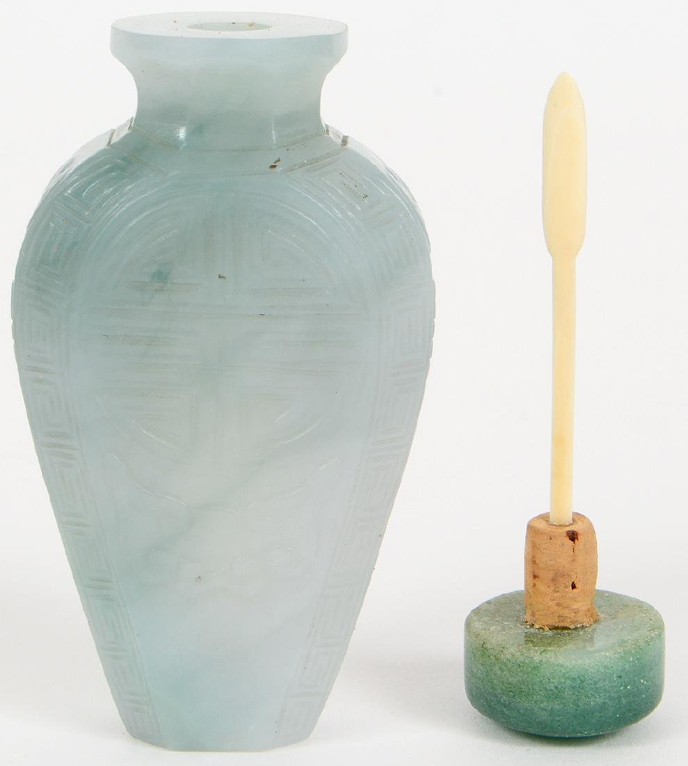 CHINESE IMPERIAL INCISED JADEITE SNUFF BOTTLE - 6