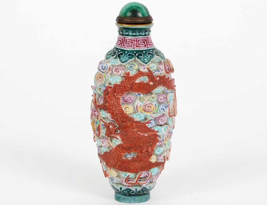 CHINESE ENAMEL DECORATED PORCELAIN SNUFF BOTTLE