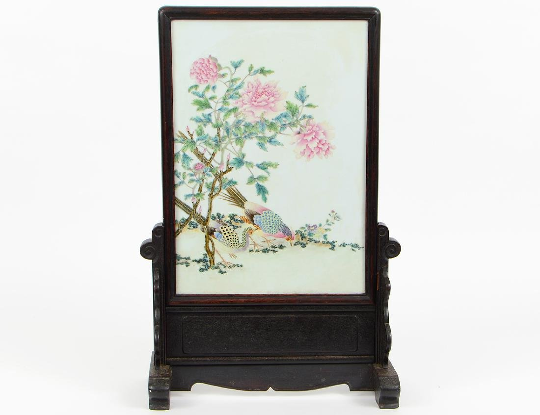 CHINESE FAMILLE ROSE DECORATED PORCELAIN PANEL