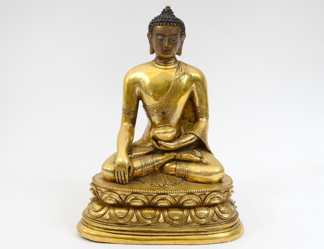 SEATED GILT BRONZE BUDDAH
