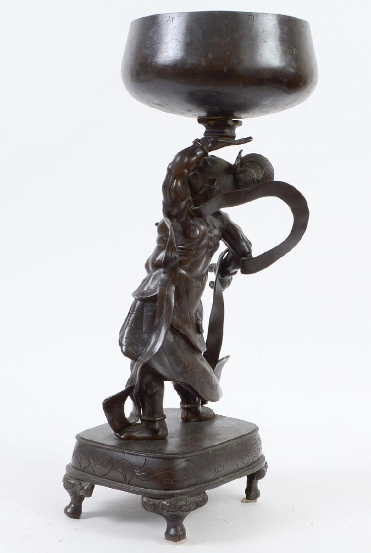 JAPANESE PATINATED BRONZE FIGURAL GONG - 5