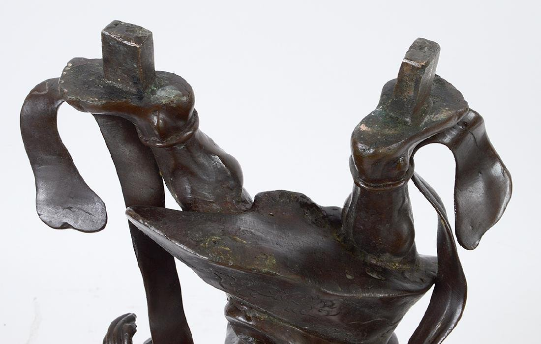 JAPANESE PATINATED BRONZE FIGURAL GONG - 7