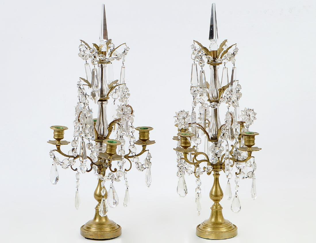 PAIR OF LOUIS XV STYLE BRASS AND GLASS GIRONDOLES