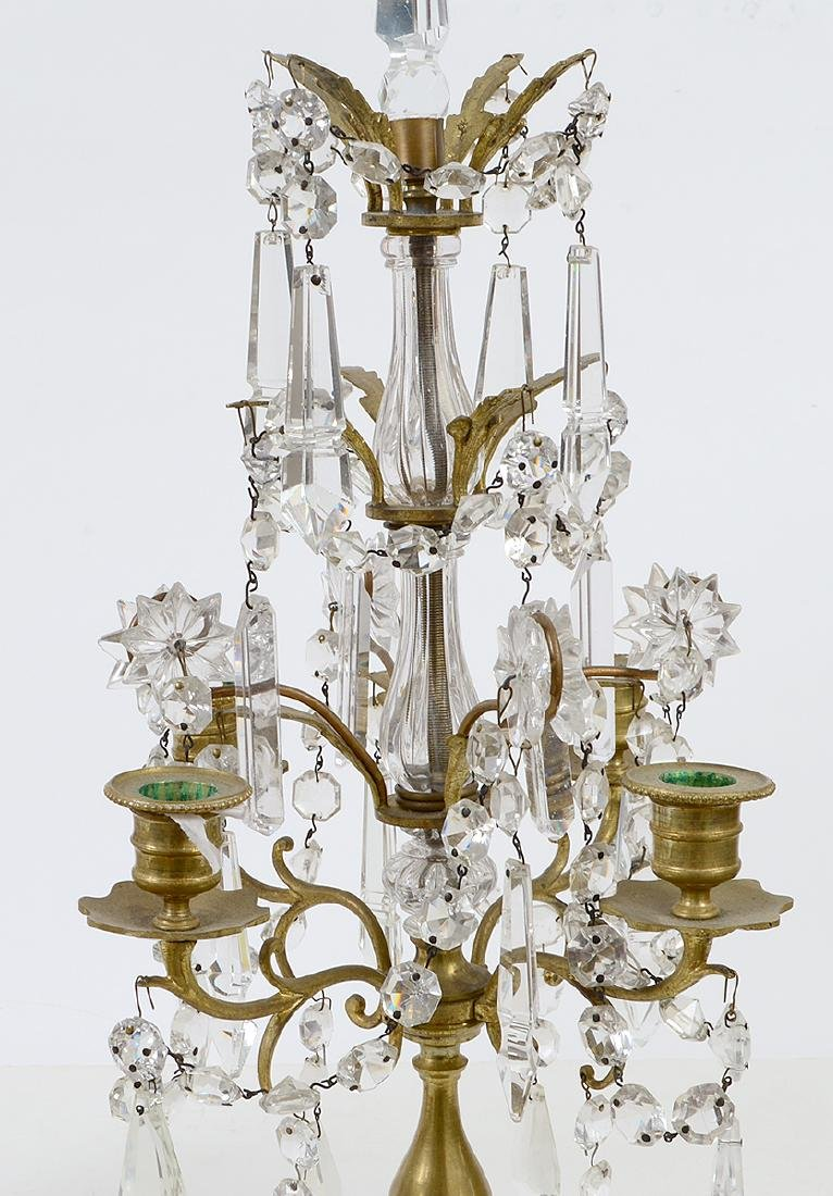 PAIR OF LOUIS XV STYLE BRASS AND GLASS GIRONDOLES - 2