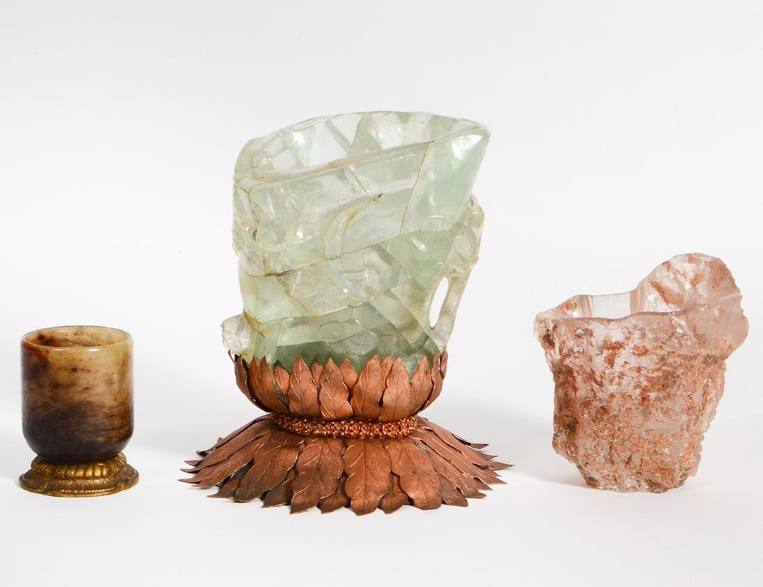 THREE CARVED MINERAL VESSELS