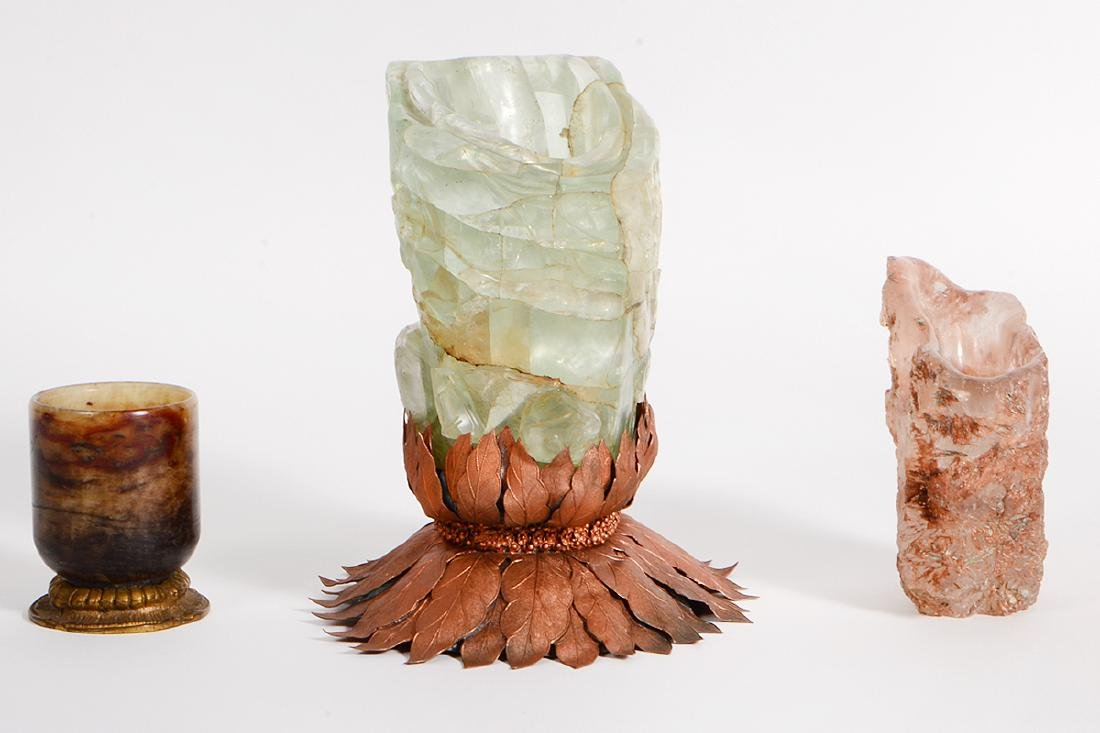 THREE CARVED MINERAL VESSELS - 2