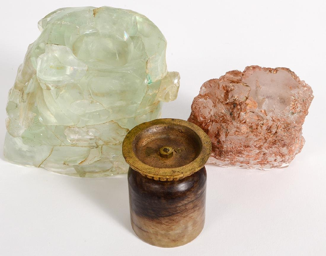 THREE CARVED MINERAL VESSELS - 5