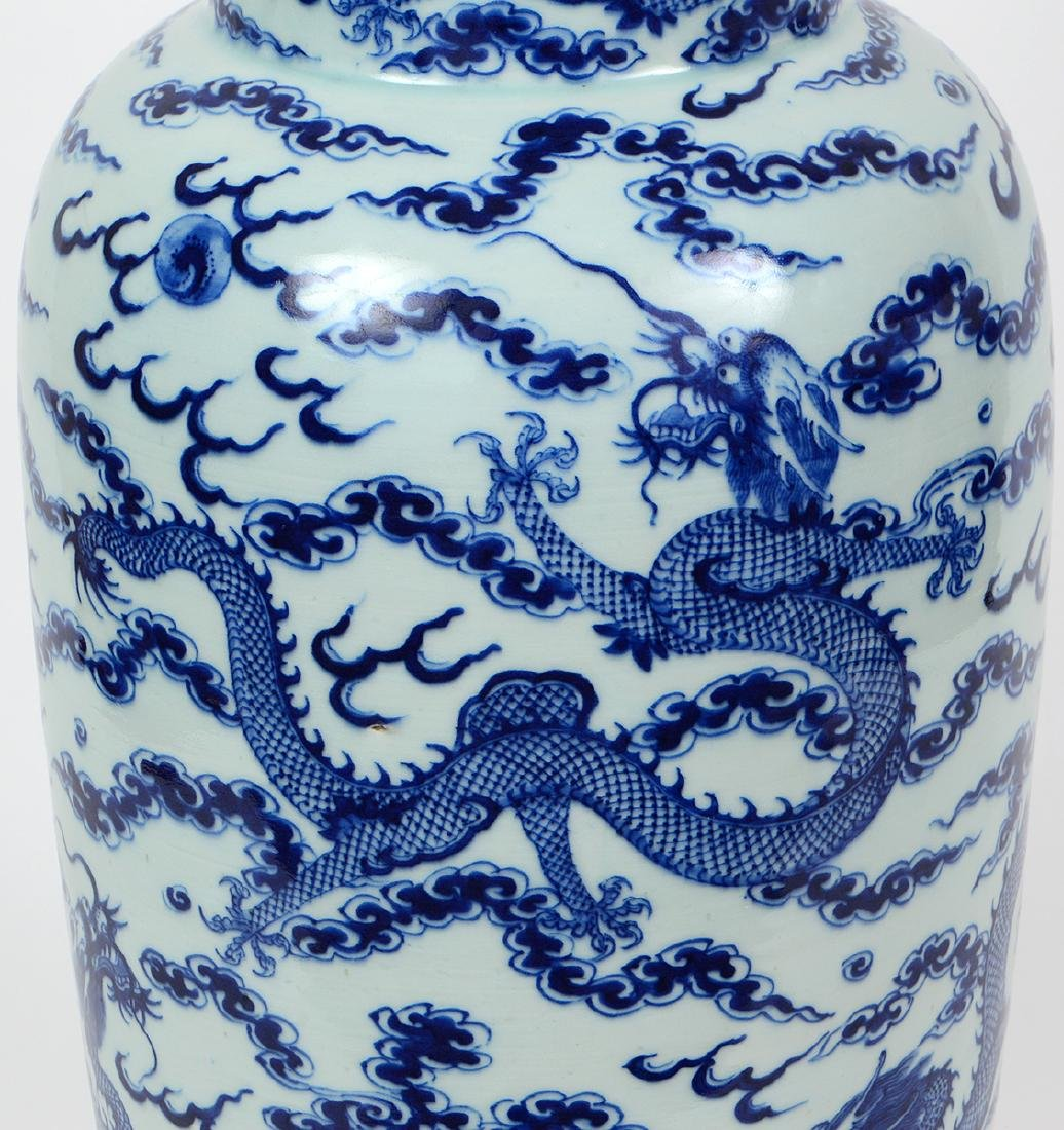 CHINESE BLUE AND WHITE PORCELAIN ROULEAU DRAGON VASE - 2