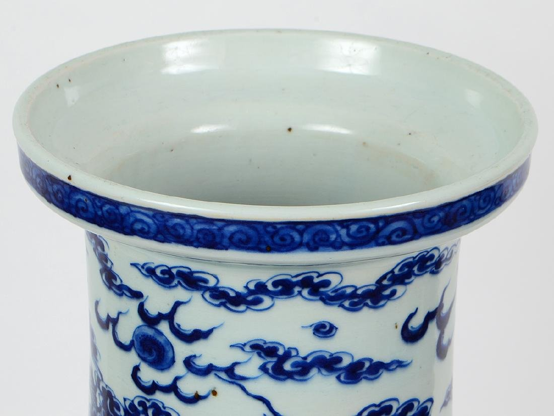 CHINESE BLUE AND WHITE PORCELAIN ROULEAU DRAGON VASE - 4