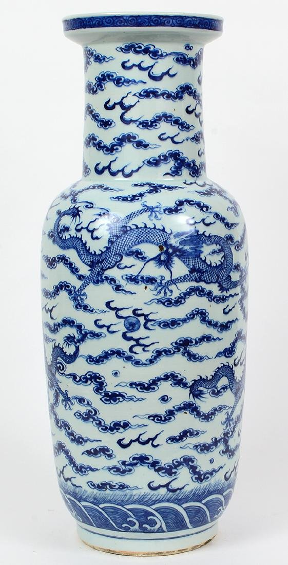 CHINESE BLUE AND WHITE PORCELAIN ROULEAU DRAGON VASE - 6