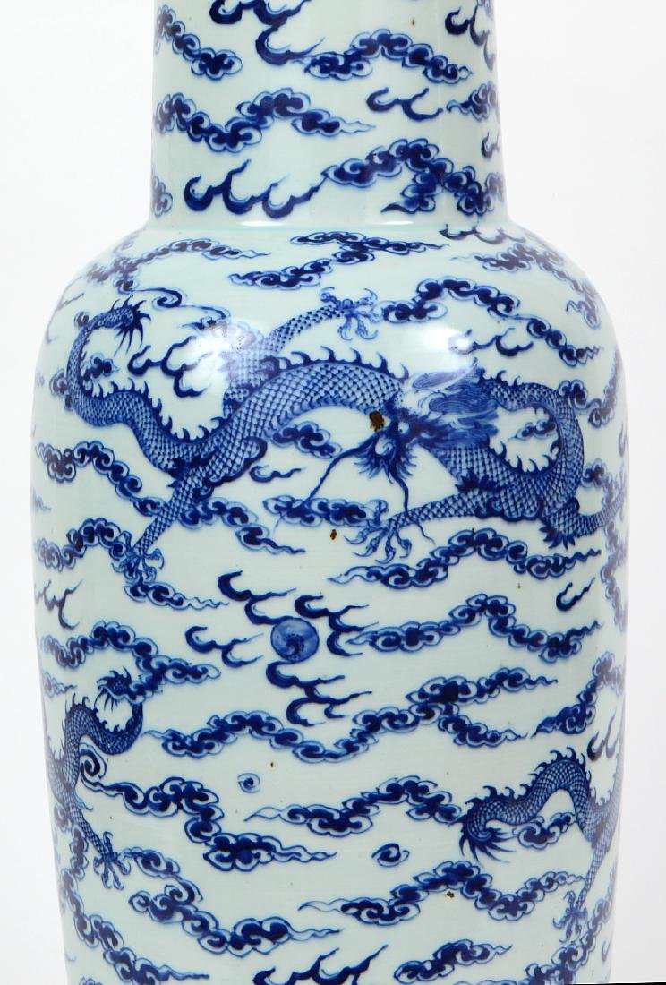 CHINESE BLUE AND WHITE PORCELAIN ROULEAU DRAGON VASE - 7