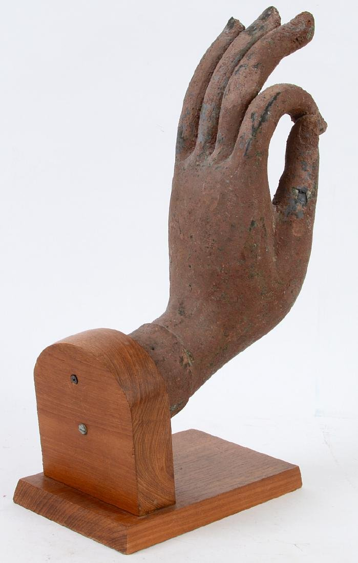 SOUTHEAST ASIAN PAINTED METAL HAND - 3