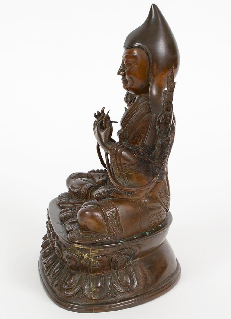 TIBETAN PATINATED BRONZE SEATED LAMA - 5