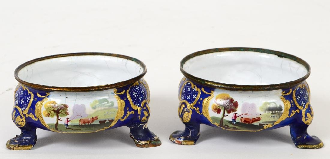 TWO PAIRS OF BATTERSEA ENAMEL SALTS - 6