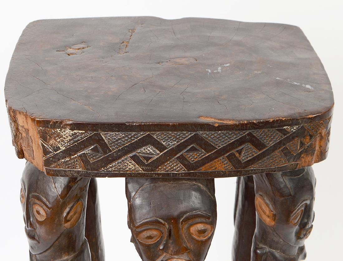 AFRICAN CARVED WOOD CHIEF'S STOOL - 2