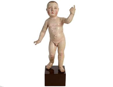 SPANISH COLONIAL PAINTED WOOD MALE YOUTH