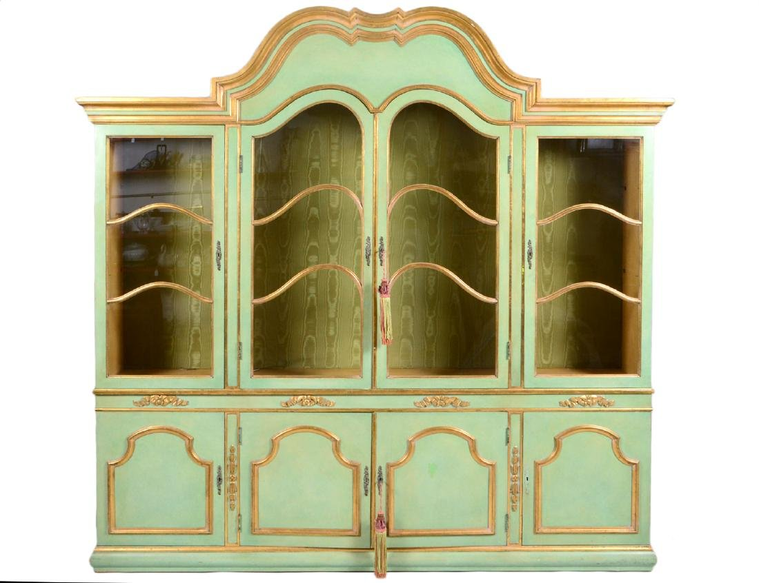 ITALIAN BAROQUE STYLE PARCEL GILT GREEN PAINTED CABINET