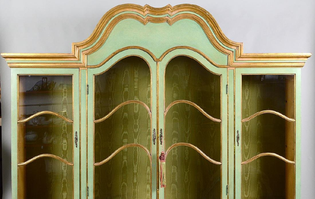 ITALIAN BAROQUE STYLE PARCEL GILT GREEN PAINTED CABINET - 2
