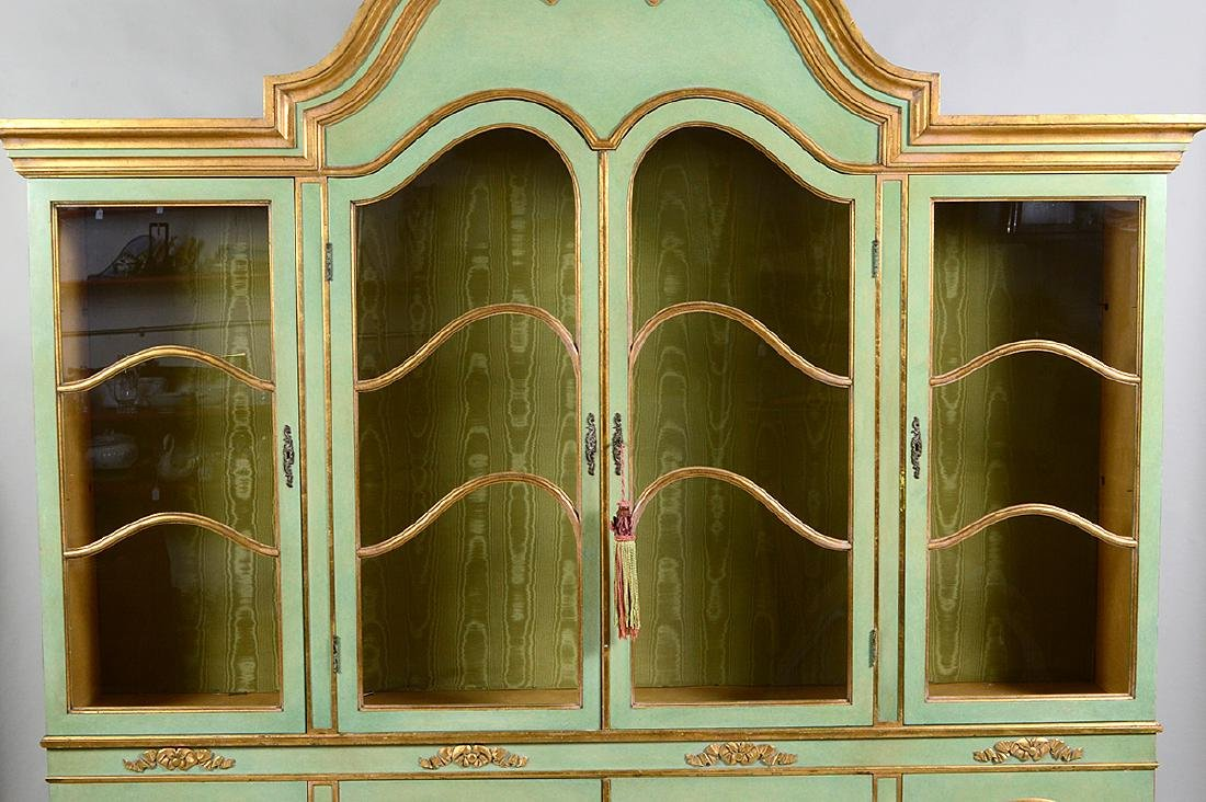 ITALIAN BAROQUE STYLE PARCEL GILT GREEN PAINTED CABINET - 3