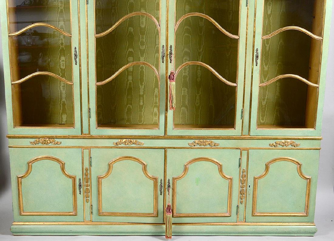 ITALIAN BAROQUE STYLE PARCEL GILT GREEN PAINTED CABINET - 4