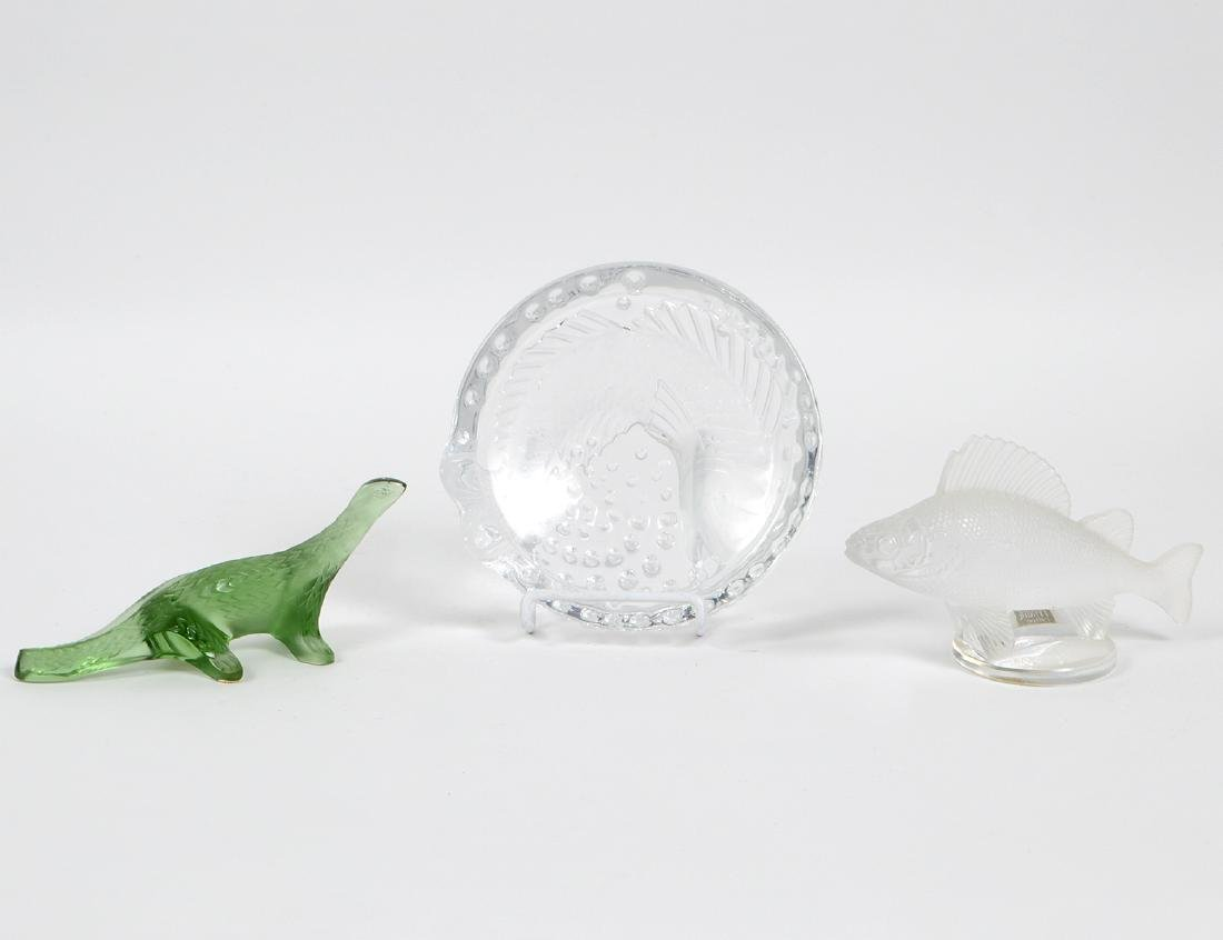 THREE LALIQUE GLASS TABLE ITEMS
