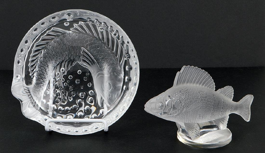 THREE LALIQUE GLASS TABLE ITEMS - 2