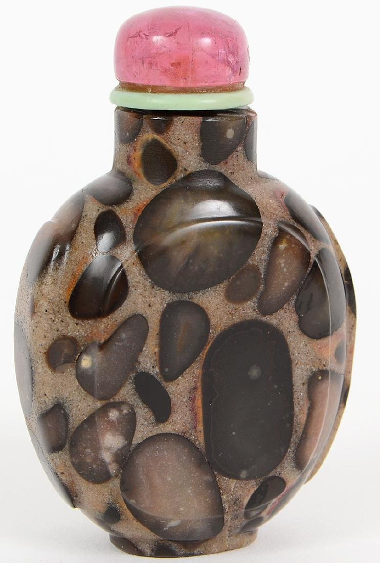 CHINESE PUDDINGSTONE SNUFF BOTTLE - 3