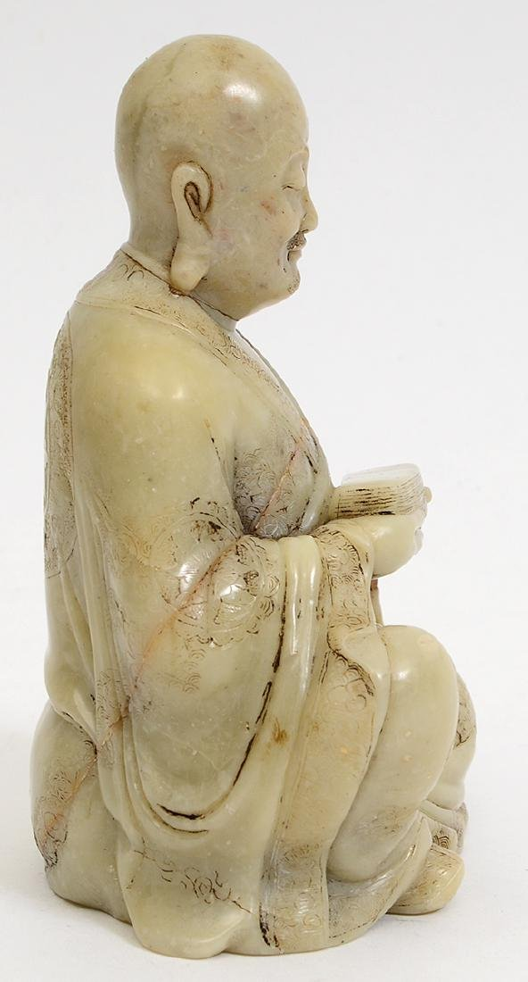 CHINESE CARVED SOAPSTONE SEATED LOHAN - 2