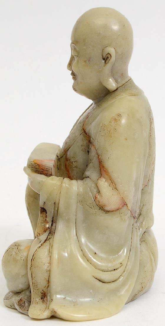CHINESE CARVED SOAPSTONE SEATED LOHAN - 4