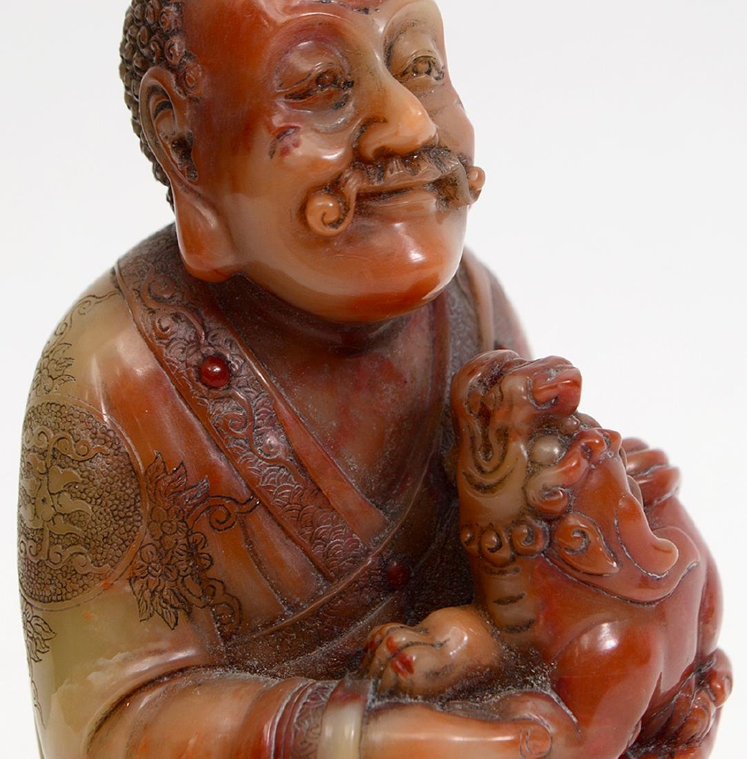 CHINESE CARVED SOAPSTONE FIGURE OF A TAOIST PRIEST - 5