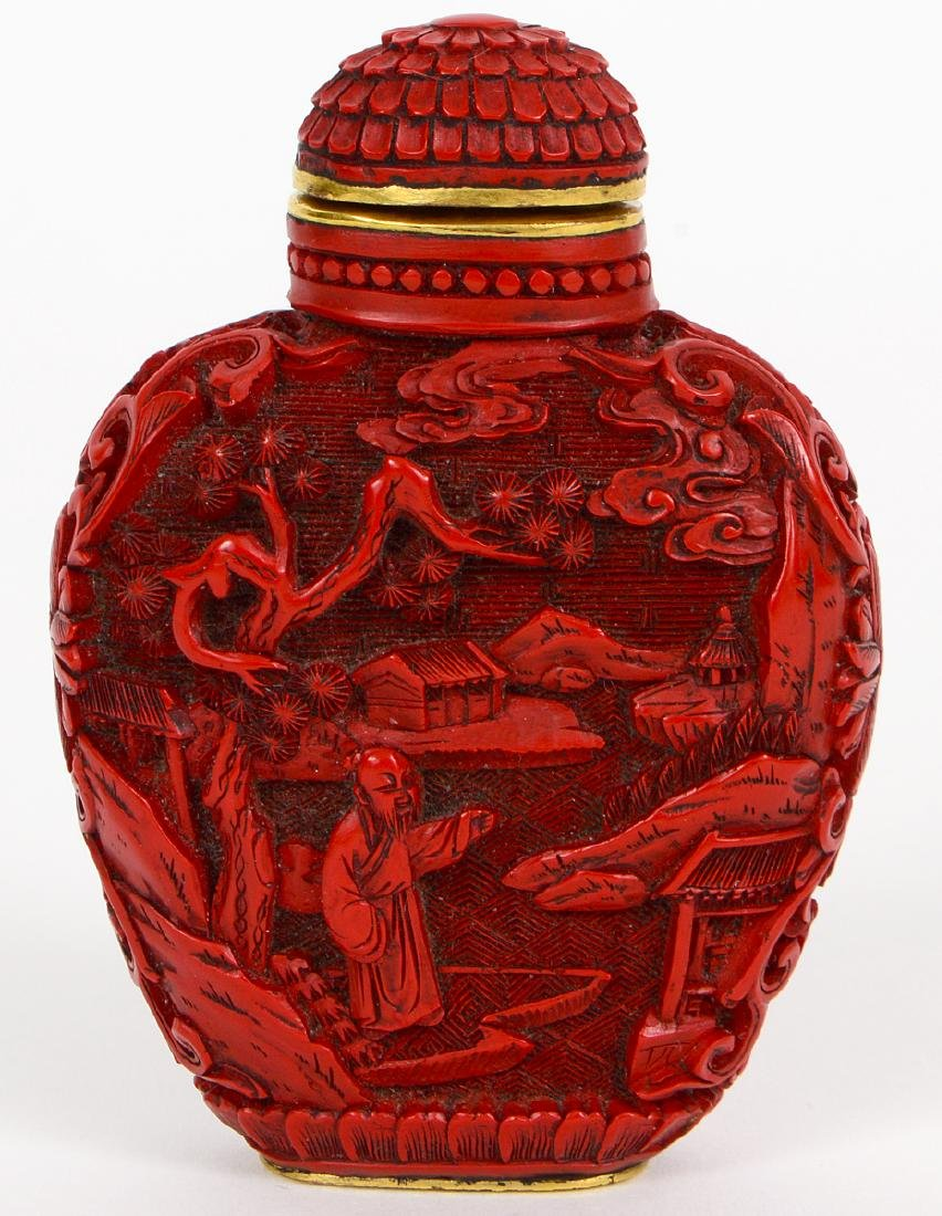CHINESE CARVED CINNABAR SNUFF BOTTLE - 3