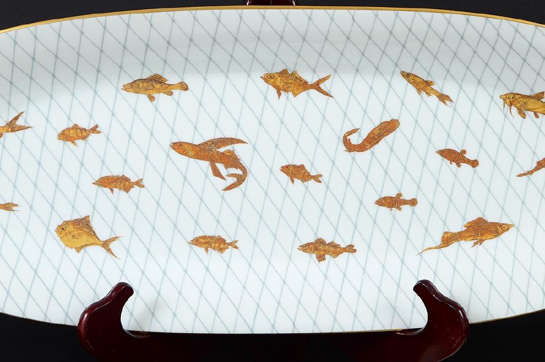 LIMOGES PORCELAIN PART GILT PORCELAIN FISH SERVICE - 2