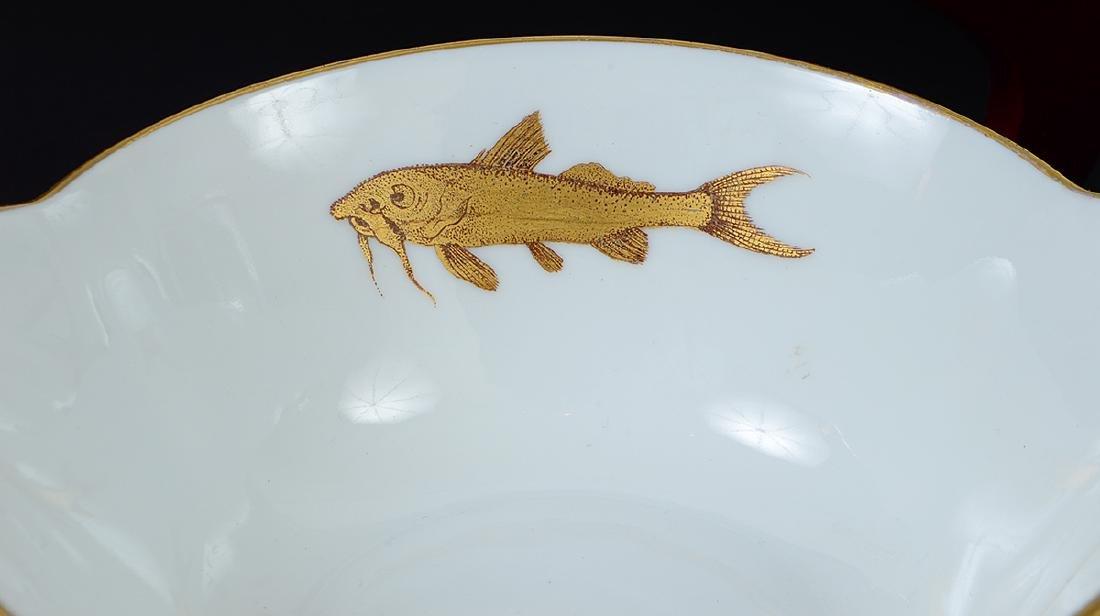 LIMOGES PORCELAIN PART GILT PORCELAIN FISH SERVICE - 3