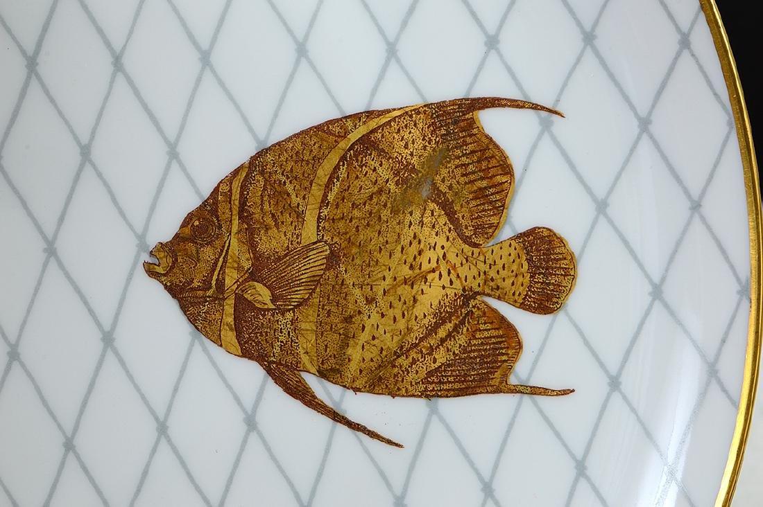 LIMOGES PORCELAIN PART GILT PORCELAIN FISH SERVICE - 5